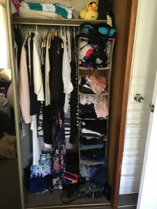 Before: chaos! The hanging drawer space lacks functionality and things get lost at the back of it.