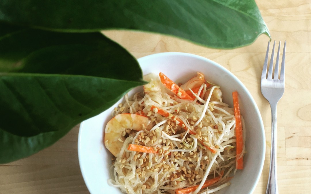 Kelp Noodle Pad Thai with Prawns